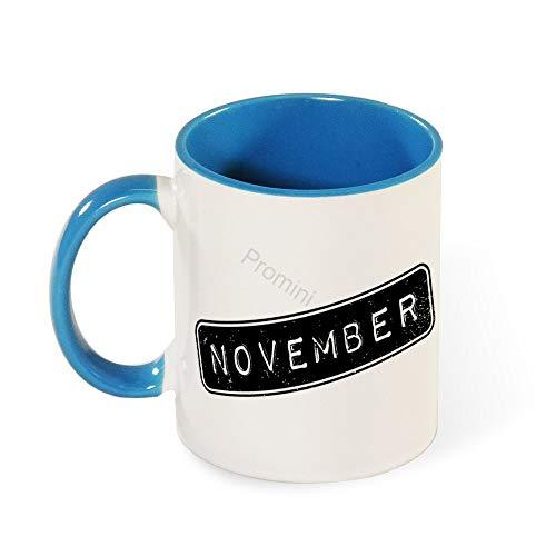 Promini Ceramic Novelty Mug, BJ-621 November (5) Dekorative Tassen, Lustige Kaffeetasse, Bestes Geschenk FüR Familie/Freund, Einzigartiges Geburtstagsgeschenk, 11oz Zweifarbige Hellblaue Tasse