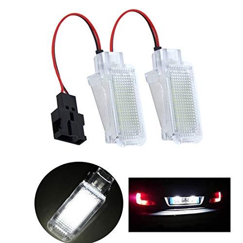 VIGORFLYRUN PARTS LTD 2pcs Luz de Maletero LED de Luz de Auto de Puerta de Paso de Bombilla Tail Lamp para A2 A3 S3 A4 S4R S4, Xenón Blanco 6000K 18 LED 3528 SMD