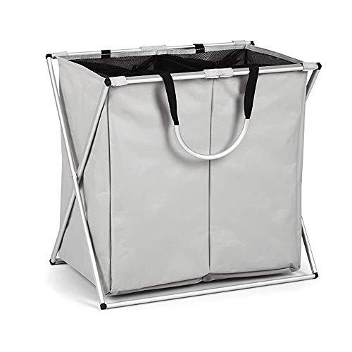 Z-Color Inicio Plegable 2 Sección Bolsa de lavandería, Servicio de lavandería Plegable Compartimiento de almacenaje, Marco de Aluminio y manijas, la Cesta de lavadero for la Sala de Estar Cuarto
