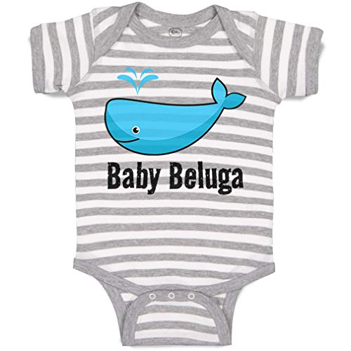 Custom Personalized Baby Bodysuit Baby Beluga Blue Whale Ocean Sea Life Funny Cotton Boy & Girl Striped Baby Clothes Stripes Gray White Design Only Newborn