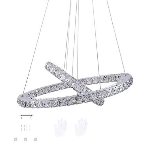 LED Kristall Design Hängelampe Deckenlampe Deckenleuchte Pendelleuchte Kreative Kronleuchter, Moderne Kristall Kronleuchter,Kaltes Lüster 6000-6500 K (48W-Zwei Ringe(Φ: 30 cm+50 cm))