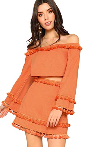 SheIn Women's 2 Piece Outfit Fringe Trim Bell Sleeve Crop Top Skirt Set Large Orange