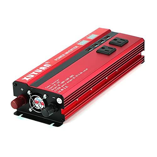 NGHSDO Inversor 4000W / 5000W Inversor de Potencia de Coche Solar DC12 / 24V a AC110 / 220V convertidor de Onda sinusoidal 4 interfaces USB Inversor 12v 220v (Color Name : DC12V to AC110V)