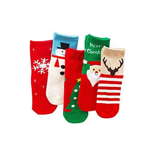 ZZM Calcetines navideños para niños, bebés, niños y niñas Calcetines de Dibujos Animados Cute Christmas Santa Tree Snowman Snowflake Deer Casual Unisex Kids Calcetines de algodón, 5 Pares