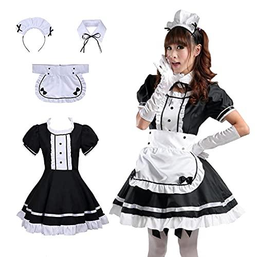 langjiao Disfraz de Lolita French Maid para mujer, disfraz de Lolita Dress Maid, 4 unidades as a set including Dress; headwear; abron; fake collar. (XL)