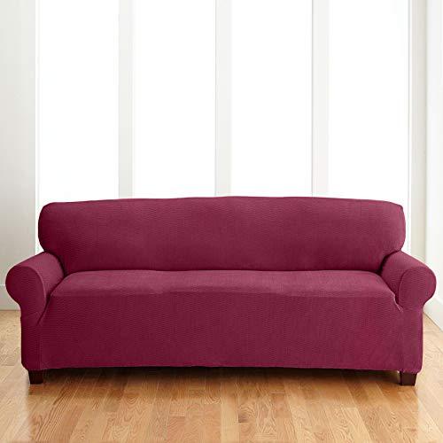 BrylaneHome BH Studio Brighton Extra-Long Sofa Slipcover, Burgundy