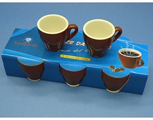OEM SYSTEMS Tazza tazzina da Bar Alta per Caffe in Ceramica Colore Panna Marrone, 6 pz