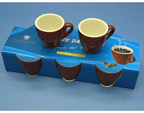 OEM SYSTEMS Tazza tazzina da Bar Alta per Caffe in Ceramica Colore Panna Marrone, 6 pz