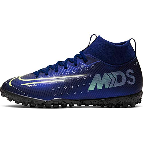 Nike Kids SuperFly 7 Academy MDS TF (2, Blue Void/Barely Volt/White)