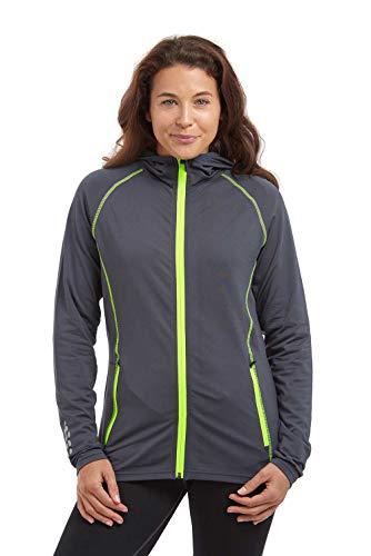 time to run Thermo-Laufjacke mit Frontreißverschluss Tasches und Kapuze für Damen L Holzkohle Grau