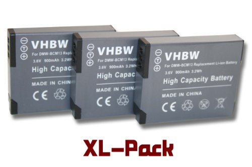 vhbw 3 x Akku Set 900mAh (3.6V) für Kamera Panasonic Lumix DMC-FT5, TS5, TZ40, TZ41, TZ-56, TZ61, ZS30 wie DMW-BCM13, DMW-BCM13E, DMW-BCM13PP.