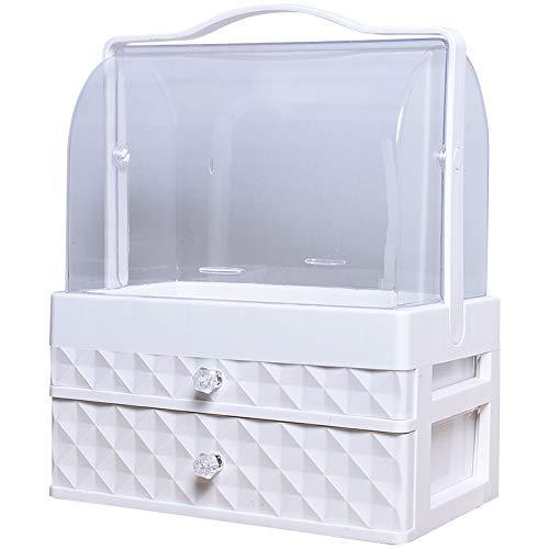 HOODIE Acryl Cosmetic Storage Box Transparant stof desktop-finishing Box kaptafel huidverzorging rek bewaarcontainer, kleur: wit