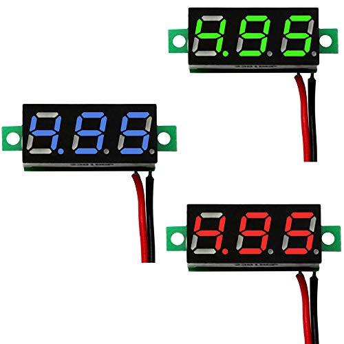 mmtrade | 3x Voltmeter Rot/Grün/Blau Mini Digital LED Anzeige | Messbereich DC 3V - 30V | Spannungsprüfer Messgerät Tester Entwicklung
