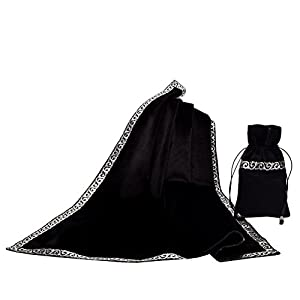 BLESSUME Altar Tarot Table Cloth Divination Wicca Velvet Cloth with Tarot Pouch