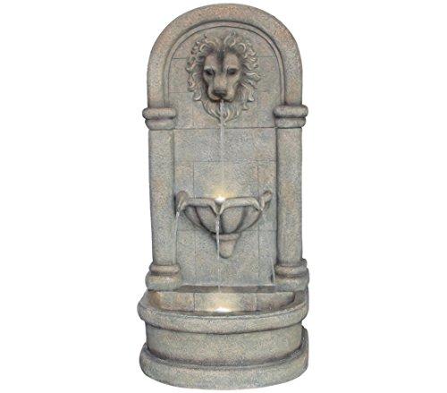Dehner Gartenwandbrunnen Faro mit LED Beleuchtung, ca. 103.5 x 38 x 49.5 cm, Polyresin, grau