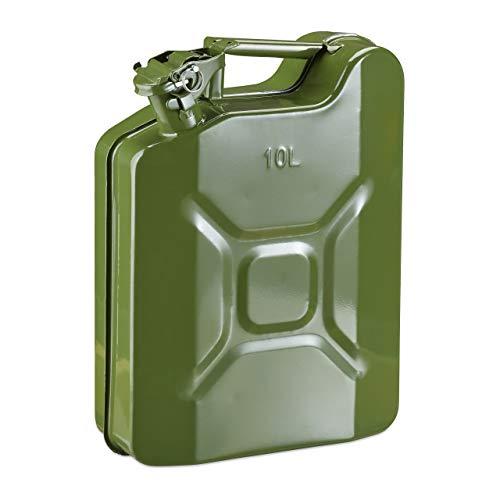 Relaxdays Benzinkanister 10 Liter, Reservekanister Benzin & Diesel, auslaufsicher, Tragegriff, Kanister Metall, olivgrün