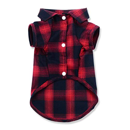 Koneseve Dog Shirt, Pet Plaid Polo Clothes Shirt T-Shirt, Sweater Bottoming Shirt for Small Dog Cat Puppy Grid Adorable Wearing Stylish Cozy Halloween,Christmas Costumes {Red;L/Large}
