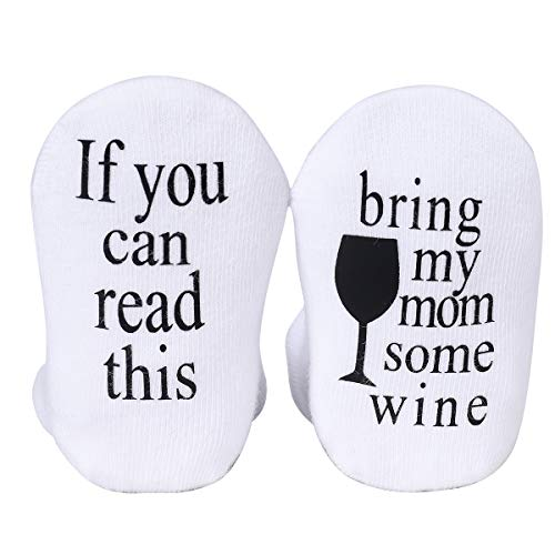 Udobuy Mothers Day Gift, Unisex Baby Gifts, Gifts for Mom to Be, Baby Socks, Wine Socks, Wine Gifts Baby Gift, Gift for Baby 3-12 Months Girls or Boys