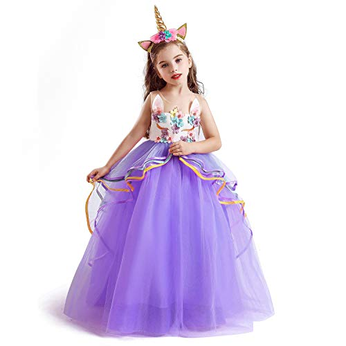 NNJXD Disfraz de Fiesta de Unicornio para Niñas Cosplay Disfraz de Halloween Tamaño (150) 9-10 Años Púrpura