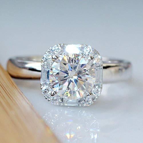 1 Karat Kubikzircon CZ Diamant Hochzeit Ringe für Frauen Echte 925 anillos Silber SolitaireNight Club Tiaodi Blink 925 Ring, 8