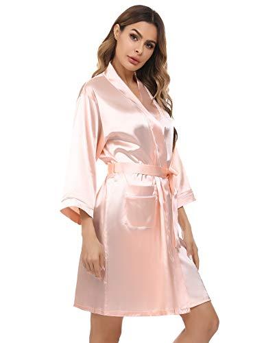Albornoz Kimono para Mujer Bata Saten Pijama Satín Camisón Ropa de Dormir