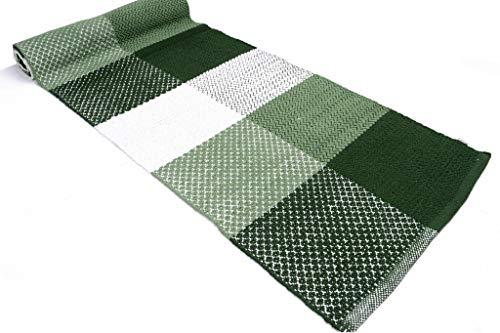 Madrid Tappeto Cotone Lavabile Bagno Cucina Antiscivolo 55x240 Vari Colori Lavabile in Lavatrice 30° (Green, 55x240cm)