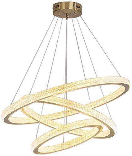 Siljoy Modern Circular Chandelier Gold 3 Ringe Pendelleuchte Acryl Runde LED-Leuchte für Esszimmer Küche