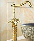 Cuenca del grifo de oro de latón grúa de baño grifo del fregadero de doble giro de 360 grados cocina de la manija de lavabo de colada griferías, oro de altura
