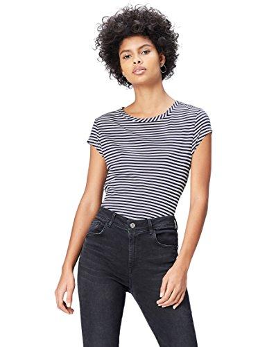 find. T-Shirt  Damen mit großem Rückenausschnitt und Knotendetail, Flügelärmel, Blau (Navy/white Striped), 40 (Herstellergröße: Large)