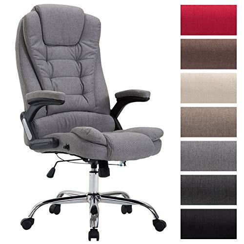 XXL Chefsessel Thor mit Stoffbezug, max. belastbar bis 150 kg, Bürostuhl mit Armlehnen, höhenverstellbar, Drehstuhl mit dickem Polster, Farbe:grau