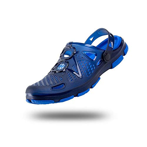 Zuecos Hombre Playa Piscina Sanitarios Enfermera Goma Verano Zapatillas de Trabajo Sandalias Negro Azul Amarillo 40-45 Azul Claro-2 44