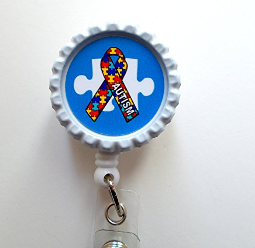 Autism Blue Puzzle Piece - ID Badge Holder - ID Badge Reel - Teacher Badge Reel - Office Personnel Badge Reel - Nursing Badge - Nurse Gift