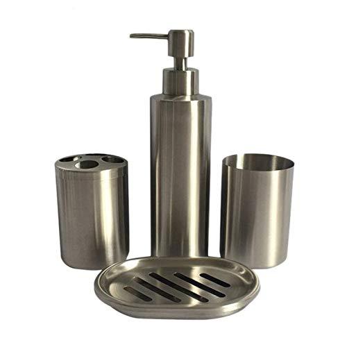 ZHQHYQHHX Set da bagno in acciaio inox Set da bagno lozione bottiglia portaspazzolino portasapone portasapone bagno accessori set (colore: argento, dimensioni: gratis)