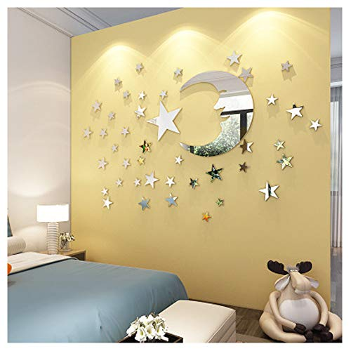 ATFUNSHOP Adesivi murali a Specchio Moon And Star Home Decoration for Kids Soggiorno Silver Reflection