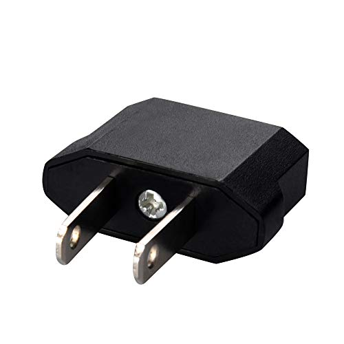 ByedogVoberry 2pcs European to American Outlet Plug Adapter EU to US Adapter Black