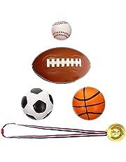 STOBOK Juego de Pelota Deportiva para Niños Baloncesto Fútbol Rugby Béisbol Medalla de Oro Juego de Deportes Al Aire Libre para Niños Piscina Al Aire Libre 5 Piezas