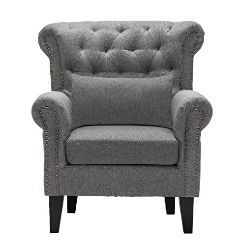 Beaugreen Armchair Upholstered Linen Accent Chair WingBack Chair Fireside Chaise Lounger with Solid Wooden Legs for Living Room Bedroom Home Office (Grey)