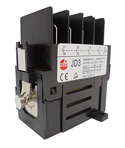 Motorschütz (Relais) KEDU JD3 230V 50Hz mit 4 Schließer,10 pin