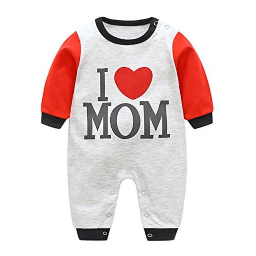 Ucoolcc - I Love MoM Baby Strampler - Baby Alphabet Drucken Playsuit Overall - Säugling Baumwoll Spielanzug - Baby-Nachtwäsche Baby Jungen Strampler - Baby Mädchen Strampler