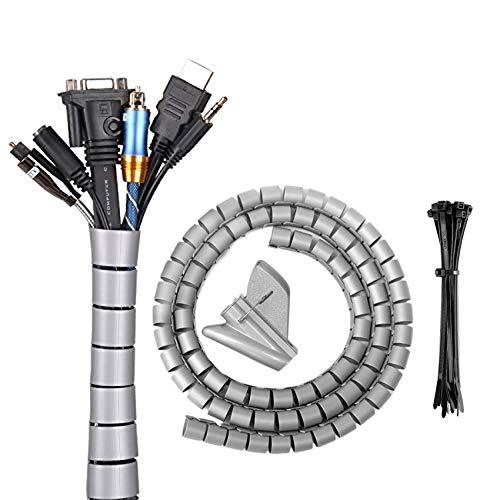 Elehui 2M x 30mm Raccogli Cavi Guaina per Cavi Flessibile Nascondi Cavi Copricavi per TV Computer Audio Manicotti Protezione Grigio