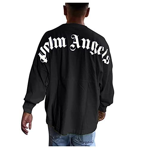 Herren- und Damen-T-Shirt Palm Angel Langarm-Casual-Buchstaben mit Rundhalsausschnitt aus Baumwoll-Fledermausärmeln, Sommeroberteile, Kurze Ärmel, Hemden mit kreativen Buchstaben