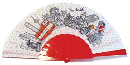 Nadal, Fiesta Souvenirs 393148, Abanico Madrid en Bicicleta, Algodón y PVC, Rojo, 23x2x2 cm