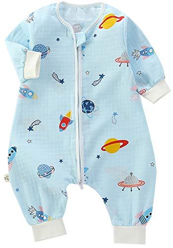 Chilsuessy Baby Schlafsack für Kleinkinder, Ganzjährig,1 Tog Sommer Schlafsack mit Füssen Schlafanzug leichter Babyschlafsack Jungen und Mädchen, Blau Raumschiff, 120/Baby Höhe 105-115cm