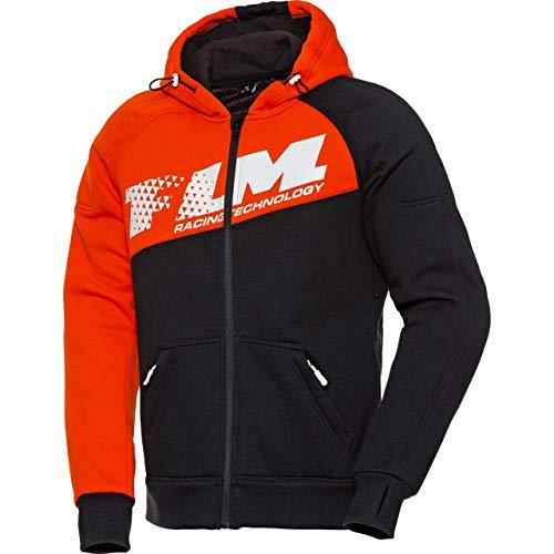 FLM Hoodie Sweatshirt Sweatjacke Kapuzenpullover Hoodie mit Protektoren, Motorrad-Hoodie, Schulter-, Ellbogenprotektoren, elastische Ärmelbündchen und Jackensaum, Einschubtaschen, Orange, L