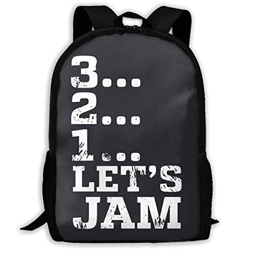 3 2 1 Let's Jam! Mochila escolar impresa resistente al agua Mochila de viaje portátil ligera mochila Daypack de 17 pulgadas