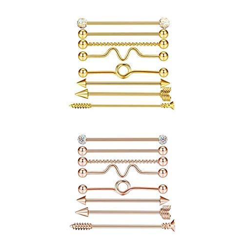 Milageto 16pcs 14G Industrial Barbell Pendientes de Acero Industrail Piercing Bar Body Jewelry