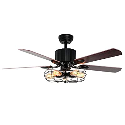 """A Million 52"""" Vintage Ceiling light with Fans Remote Reversible Blades Silent Motor Chandelier for Dining Room Living Room Bedroom Restaurant, Bulbs Required"""