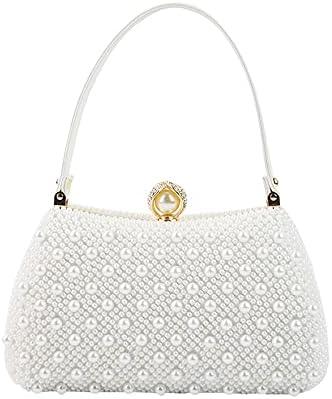 zyylppylw Shoulder Bags Fashion Women Evening Clutch Bag Gorgeous Pearls Crystal Beading Bridal Wedding Party Bags Female Purse Handbags (Color : 1853-7)