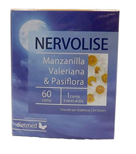 Dietmed NERVOLISE 60 C. Manzanilla, lúpulo, pasiflora, salvia, valeriana, bola de nieve. Tranquilizante, relajante, anti estrés, sueño reparador, contra la ansiedad, mejora ánimo combate el estrés