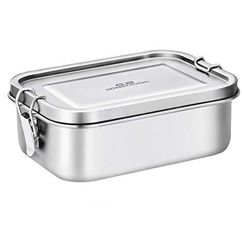 G.a HOMEFAVOR Dichte Brotzeitbox 800 ml Edelstahl - Auslaufsichere Lunchbox Rechteckige Bento-Box, ideal für Pausenbrote und Snacks für Kinder
